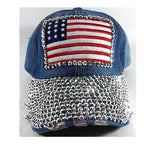 Bling American Flag Hat Denim Baseball Cap Ladies Adjustable
