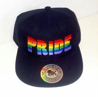 Pride Rainbow Black Snapback Hat Flat Bill Snap back Adjustable LGBT