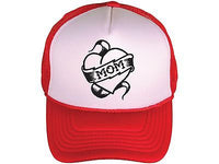 Mom Heart Love my Mom Red and White and Black Trucker Hat Snapback
