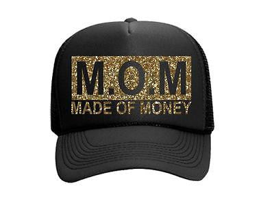 MOM Made of Money Glitter Gold and Black Trucker Hat Snapback