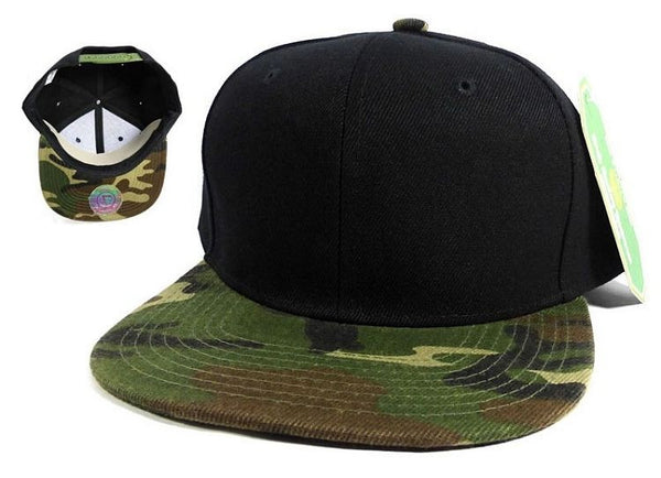 Custom Embroidery Black Camo Hat Snapback Camouflage