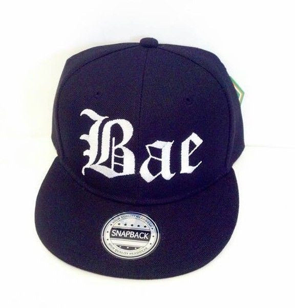 Bae White Embroidery Snapback Hat Black One Size