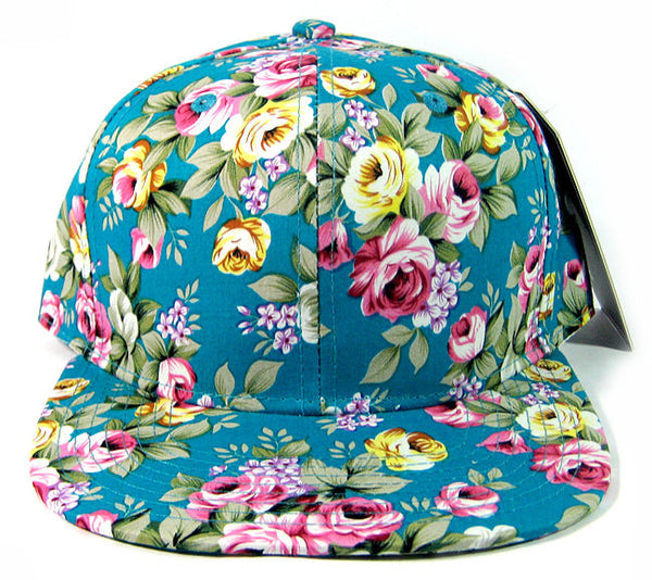 Custom Embroidery Black Floral Teal Blue Pink Hat Snapback