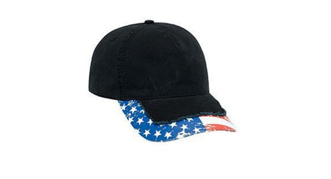 Custom Embroidery American Flag Red White Blue on Black Distressed Visor