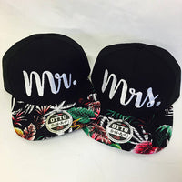 Mr And Mrs SnapBack Wedding Gift Anniversary Newlyweds Hat Black and Floral Camo