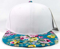 Custom Embroidery Floral Black Hat Snapback Flower Rose Pink Purple White Teal