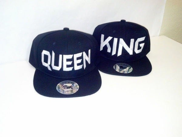 King and Queen White and Black Embroidery Snapback Hat One Size