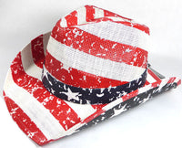 American Cowgirl Hat Cowboy Style Unisex Hat Straw Western Red White Blue Flag