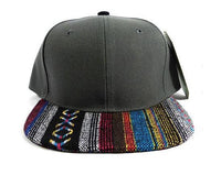 Aztec Print Snapback Hat Ikat Flat Bill Grey Tribal w/ Black & Blue Adjustable