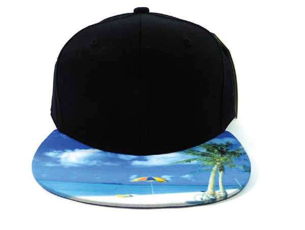 Custom Embroidery Black and Beach Hawaii Snapback Hawaiian Hat