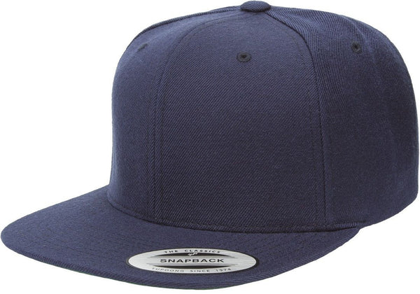 Navy Yupoong Premium Classic Snapback Hat 6 Panel Flat bill Adjustable