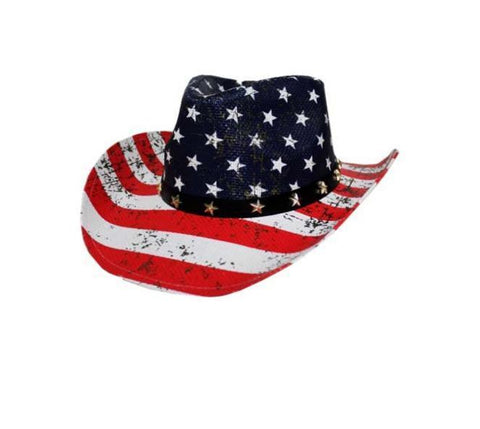 American Flag Cowboy Hat Unisex Hat Straw Western Red White Blue Flag