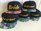 Bride Bridesmaid Maid of honor Hat Pink Floral Embroidery Snapback Hat One Size