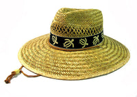 Floppy Style Straw Hat with Turtle Band Hawaiian Print Tan Natural Straw Sun Hat
