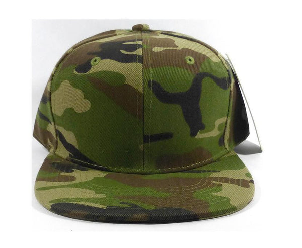Custom Embroidery Camo Camoflauge Snap back Flat Bill Hat Black Cap