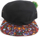 Aztec Print 5 Panel Strapback Hat Flat Bill Yellow Cap w/ Black brim Adjustable