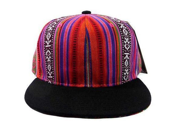 Aztec Print Snapback Hat Ikat Flat Bill Pink Orange Cap w/ Black brim Adjustable