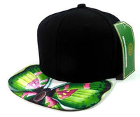 Custom Embroidery Black Butterfly Lime and Pink Hat Snapback Camouflage