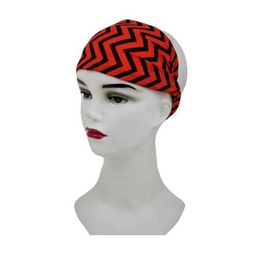 Chevron Stripe Black and Red Headband Turban Wrap Wide Womens Head band