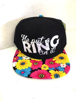 He put a ring on it. Engaged Floral and Black Embroidery Snapback Hat One Size