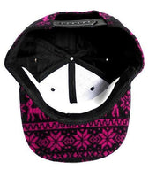 Aztec Print Snapback Hat Ikat Flat Bill Pink Tribal w/ Black Adjustable