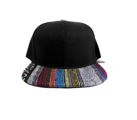 Aztec Print Snapback Hat Ikat Flat Bill Black Tribal w/ Grey & Blue Adjustable