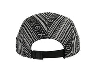Aztec Print 5 panel Hat Ikat Flat Bill Black Tribal w/ Black White Adjustable