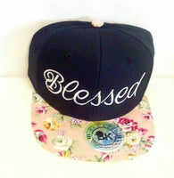 Blessed Pink Floral Embroidery Snapback Hat Black One Size