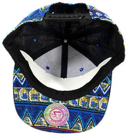 Aztec Print Snapback Hat Ikat Flat Bill Blue Yellow Cap w/ Black brim Adjustable