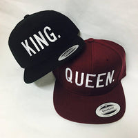 King and Queen Snapback Hat Black and Maroon One Size