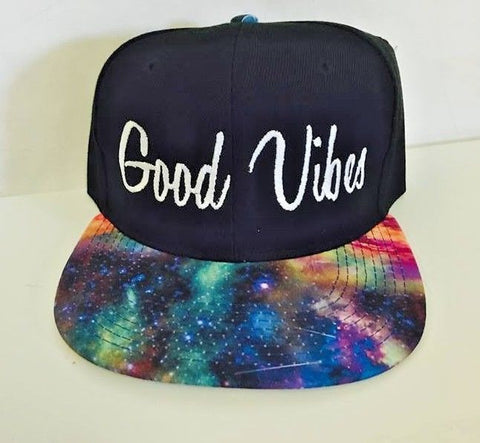 Good Vibes Galaxy and Black Embroidery Snapback Hat One Size