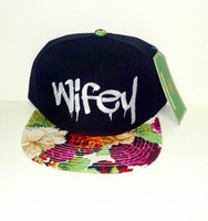Wifey Pink Hawaiian White Embroidery Snapback Hat Multicolor One Size