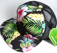 Hawaiian Baseball Snapback Cap Tropical Mesh Trucker Floral Flat Adjustable Hat