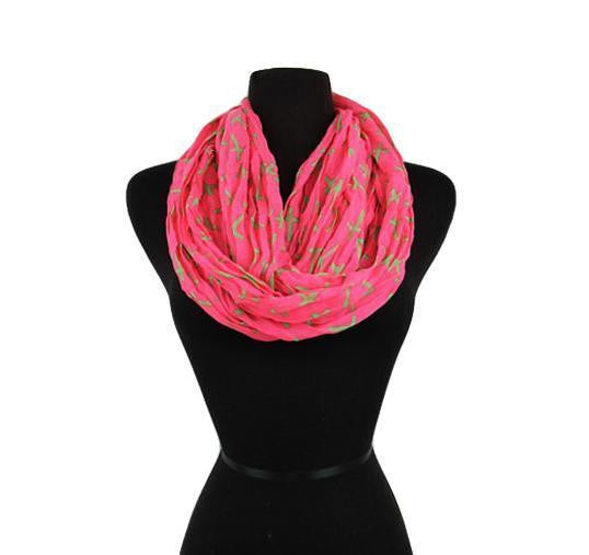 Cross Scarf, Wrap, Infinity, Pattern Infinity Scarves Pink Green Rustic boho