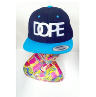 Dope Hat Teal and Black Embroidery Snapback Hat One Size