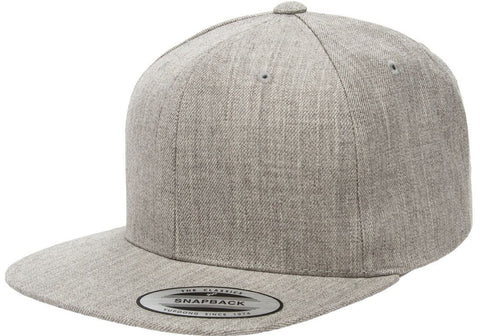 Custom Embroidery Heather Grey Yupoong Premium Classic Snapback Hat 6 Panel