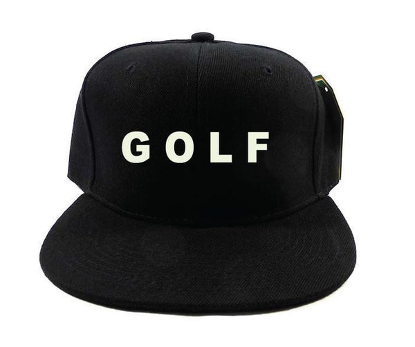 Golf White on Solid Black Snapback Hat Black Cap One Size