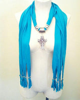 Teal Cross Pendant Scarf, Soft Wrap, Shawl, Classy Cover up, Bling Faith Scarves