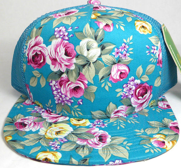 Teal Floral Rose Snapback Cap Tropical Mesh Back Trucker Flat Adjustable Hat