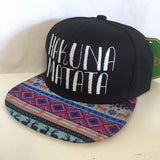 Hakuna Matata Aztec and Black Embroidery Snapback Hat One Size