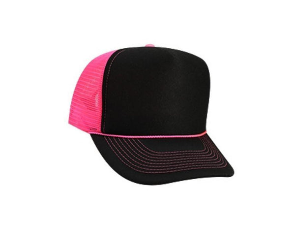 Custom Vinyl Black and Pink Foam Trucker Mesh Back Hat Snapback