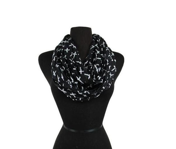 Custom Cross Scarf, Wrap, Infinity, Pattern Infinity Scarves Black and White