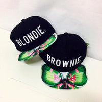Blondie and Brownie Butterfly Strapback Hat Black Set of Both Snapback Style