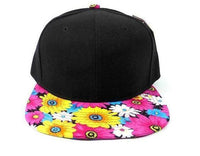 Custom Embroidery Floral Black Hat Snapback Flower Daisy Teal Pink Yellow White