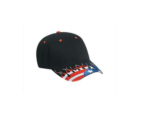 Custom Embroidery American Flag Red White Blue on Black Flame Visor