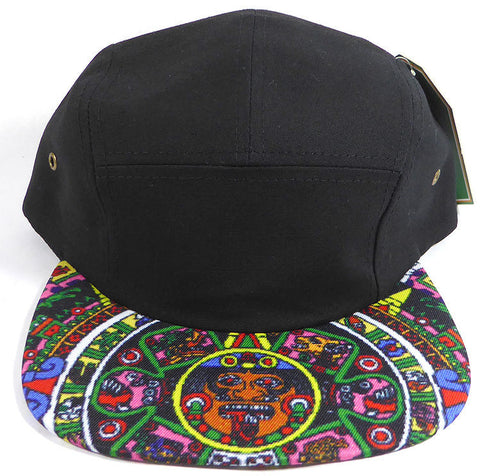 Aztec Print 5 panel Hat Ikat Flat Bill Black Tribal Mayan Pink White Adjustable