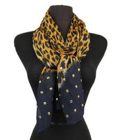 Custom Leopard, Soft Scarf, Wrap, Shawl, Classy Cover up, Bling Scarves, Navy,