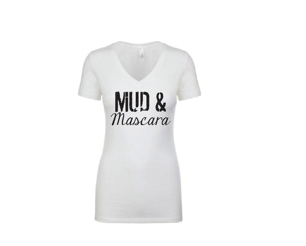 Mud and Mascara Shirt - Womens V-neck T-Shirt. Long Length Tee. Black, White Top