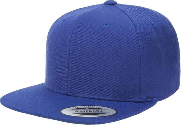Custom Embroidery Royal Yupoong Premium Classic Snapback Hat 6 Panel Flat bill