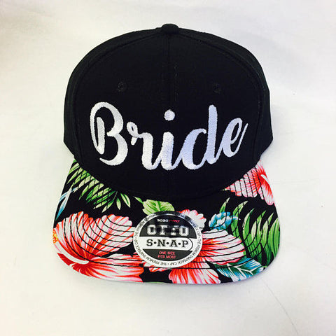 Custom Bride Embroidery Black White Flat Bill Floral Hawaiian Print Hat Snapback